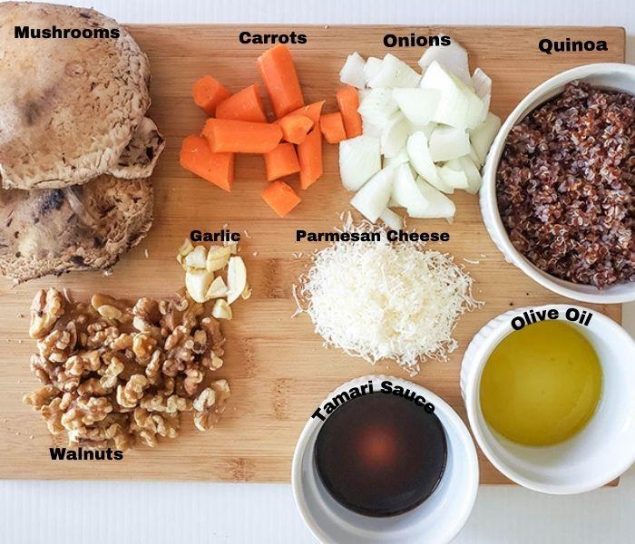 the ingredients for the mushroom veggie burger: walntus, mushrooms, garlic, cheese, tamari sauce, ollive oil, onions,carrots, quinoa