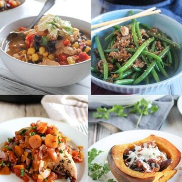 a collage of hearty dinner ideas: chicken with red wine, tex mex acorn squash, stir fried green beans, chicken tortilla soup