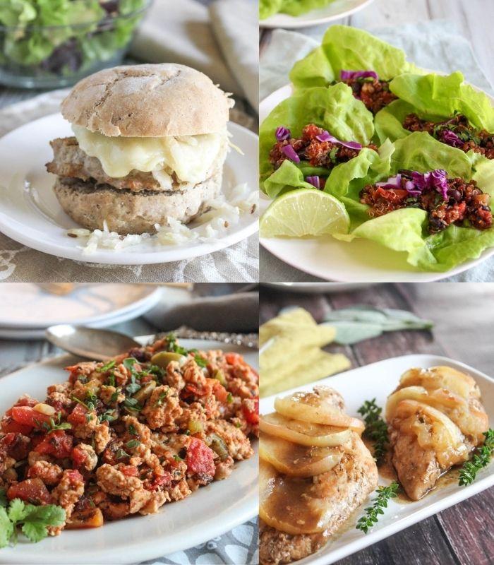 a collage of meals, turkey burger, veggie lettuce wraps, chicken picadillo, apple cider chicken