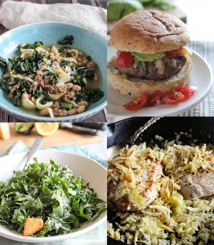 a collage of  recipe photos: sausage kalesoup, jalapeno burger, kale caesar salad, pork chops with sauerkraut.