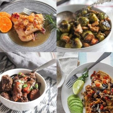 a collage of reicpes: beef stew, slow cooked orange chicken, chicken casserole and roasted brussels sprouts