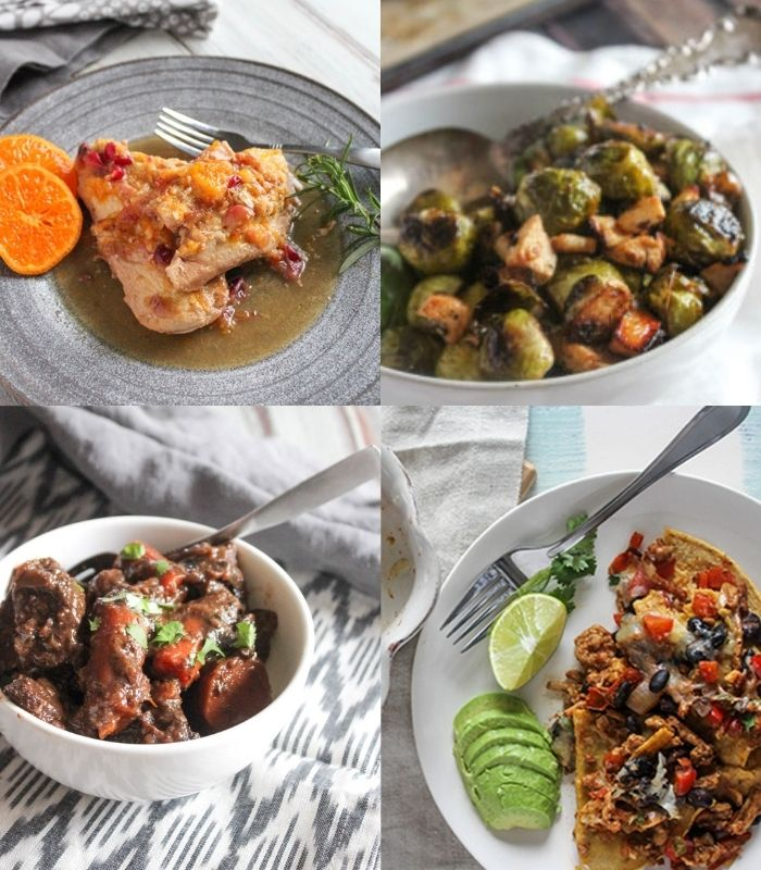 a collage of menu ideas: orange chicken in a plate, roasted brussels sprouts in a bowl, beef stew and southwest chicken casserole