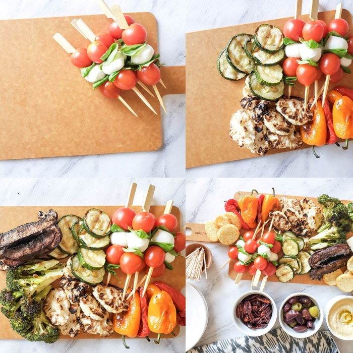 a collage of photos of food filling up the board