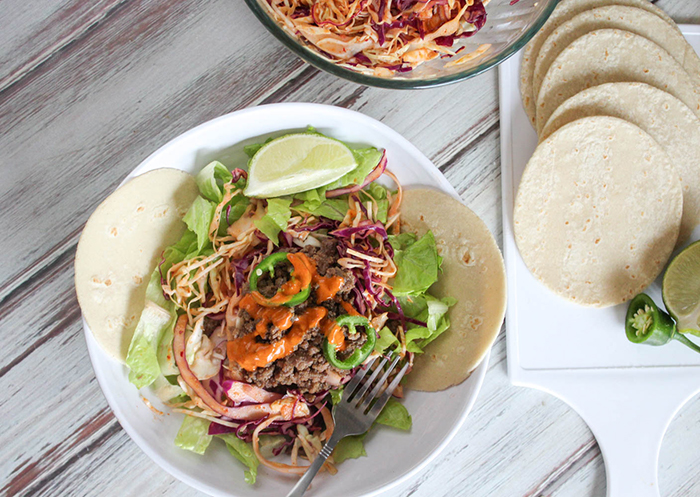 overhead shot of korean tacos in a bowl