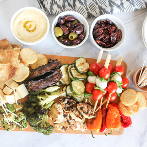 an overhead view of the veggie charcuterie board
