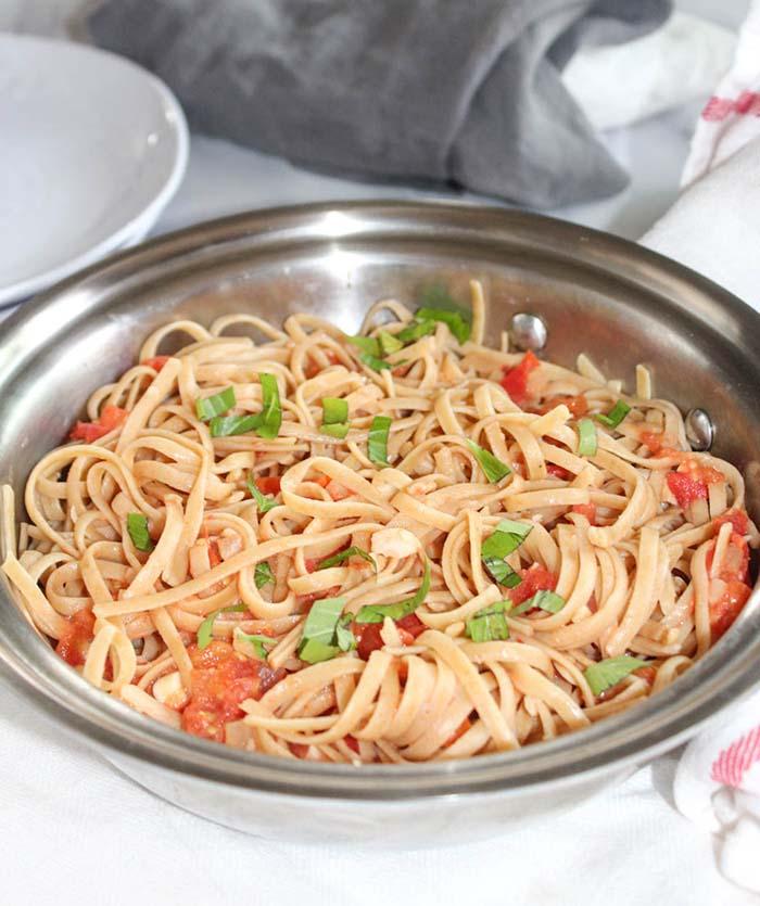 a big bowl of pasta with blush sauce
