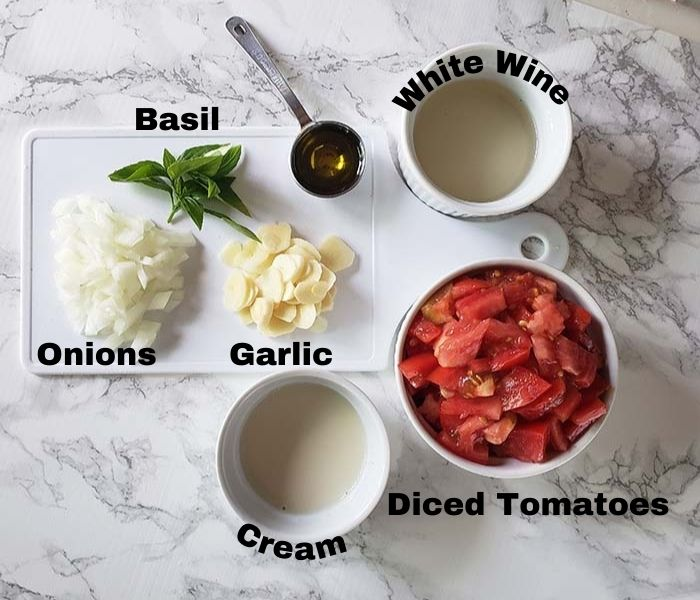 The ingredients: onions, garlic, basil,, tomatoes, cream, white wine & olive oil